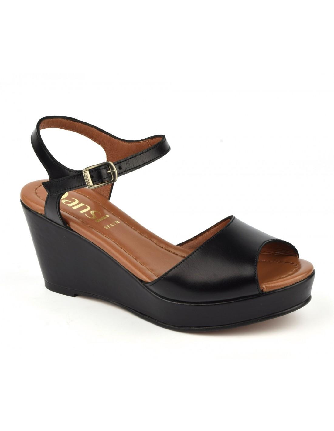 7f41e6e83caec5 Sandales compensées, cuir lisse noir, 8332, Dansi, chaussure femme petite  pointure