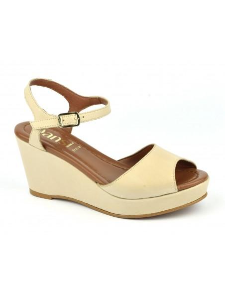 Sandales compensées, cuir lisse beige nude, 8332, Dansi, femme petits pieds