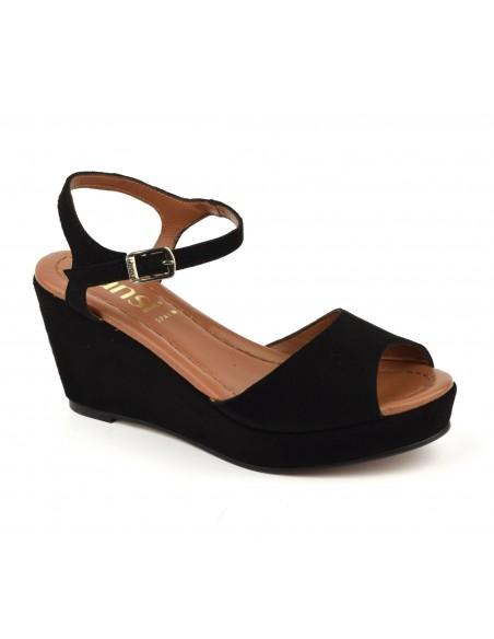 Sandales compensées, cuir daim noir, 8332, Dansi, femme petite taille