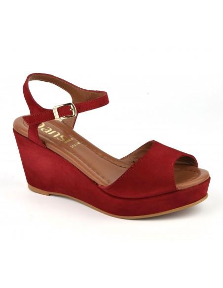 Sandales compensées, cuir daim rouge, 8332, Dansi, femme petites pointures