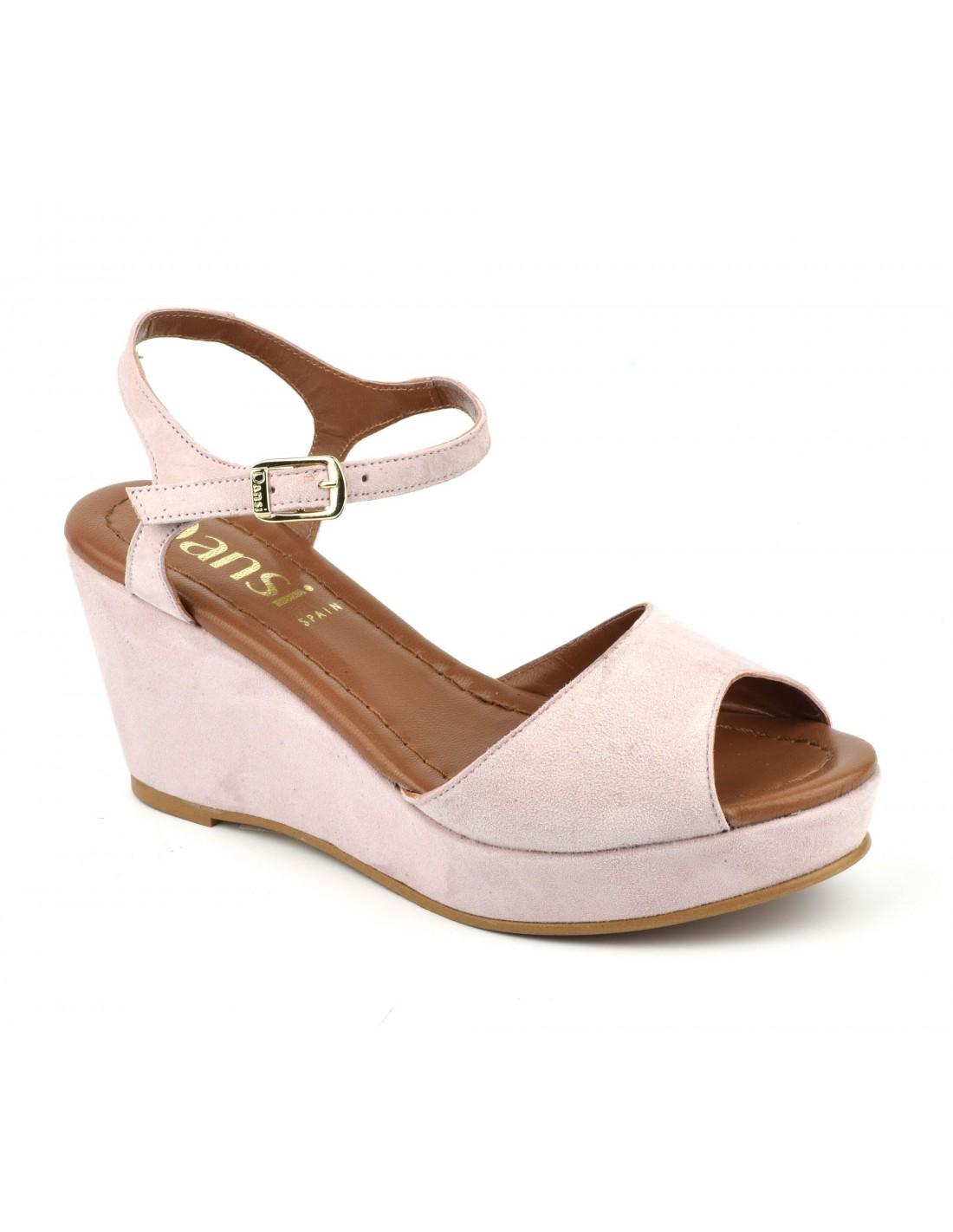 Sandales compensées, cuir daim rose poudré, 8332, Dansi