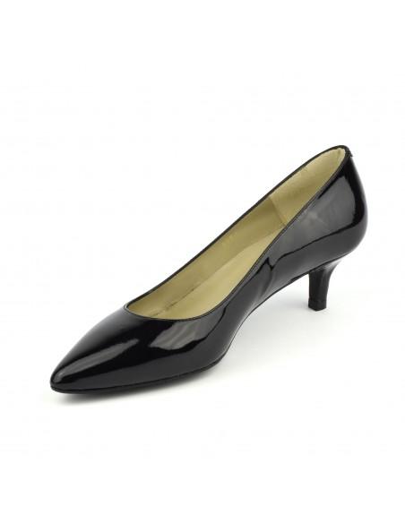 escarpins pointus petits talons cuir verni noir bf1251. Black Bedroom Furniture Sets. Home Design Ideas