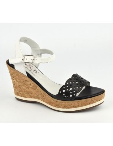 Sandales cuir noir talons compensés cuir liège, Higher, Bella B, petites tailles 33