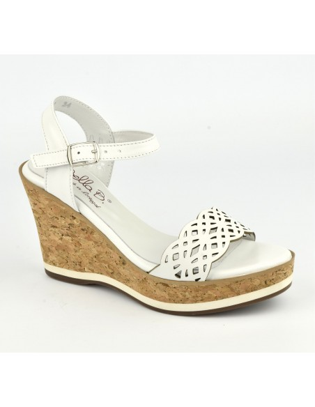 Sandales cuir blanc, talons compensés cuir liège, Higher, Bella B, taille 35