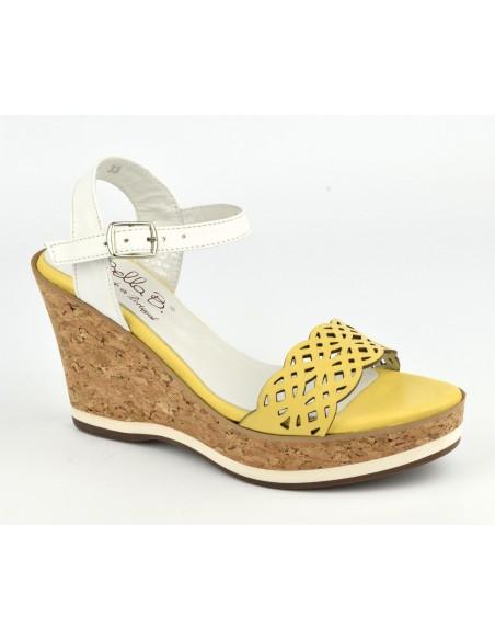 Sandales cuir jaune, talons compensés cuir liège, Higher, Bella B, talle 34