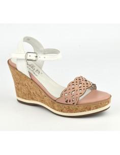 Sandales cuir nude rosé, talons compensés cuir liège, Higher, Bella B, femme petite pointure