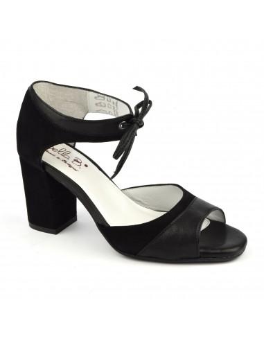 Sandalias con cordones bimateriales en cuero liso y ante negro, tacones cuadrados, Blau, Bella B