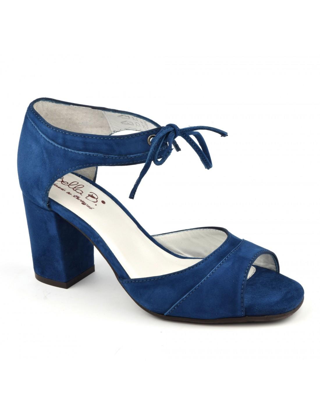 Sandales lacets cuir daim bleu royal, talons carrés, Blau, Bella B