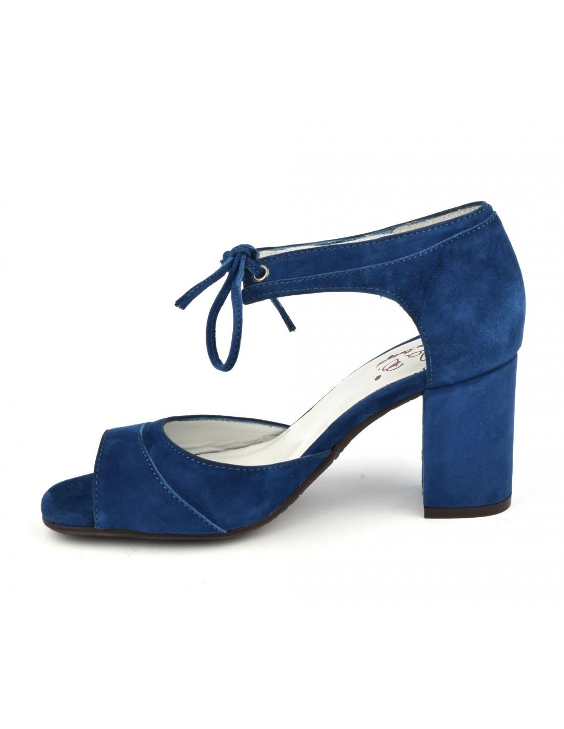 Sandales lacets cuir daim bleu royal, talons carrés, Blau