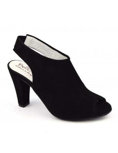 Sandales élégantes, cuir daim noir, Vada, Bella B, femme petite pointure