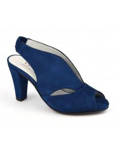 Sandales originales cuir daim bleu royal, Valencia, Bella B, femme petite taille