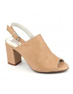 Sandales talons carrés cuir lisse nude, Blosson, Bella B, sandales femmes petites pointure