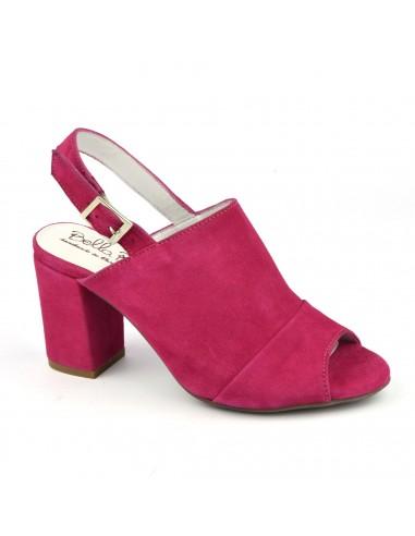 Sandales talons carrés cuir daim rose fuschia, Blosson, Bella B, femme petites pointures