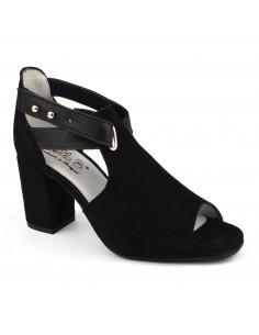Sandalias cuadradas de tacón alto de cuero de ante negro, Blint, Bella B, zapatos de mujer tallas pequeñas
