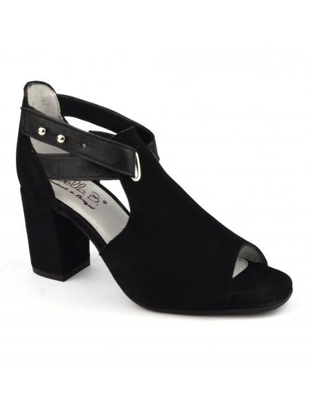 Sandales montantes talons carrés cuir daim noir, Blint, Bella B, chaussure femme petites tailles