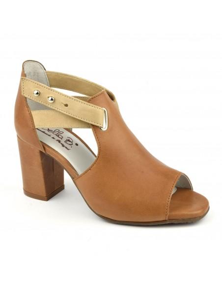 Sandales montantes talons carrés cuir lisse camel, Blint, Bella B, chaussure femme petits pieds
