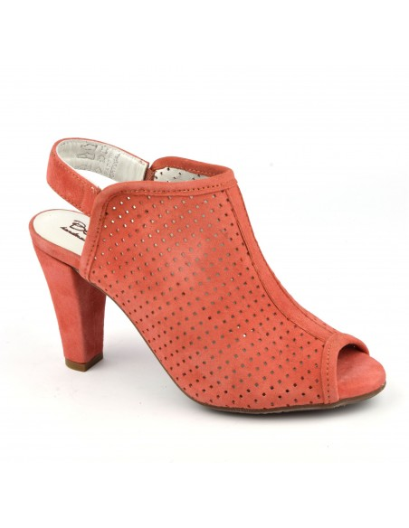 Sandales été cuir daim orange saumon, Valeur, Bella B, chaussure femme petite pointure