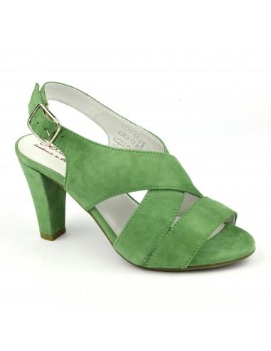 Sandales confort, cuir daim vert, Valkyrie, Bella B, femme petite taille
