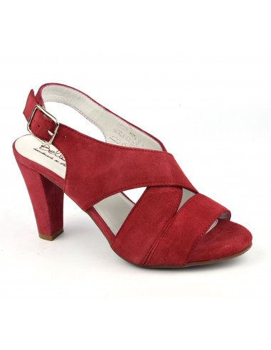 Sandales confort, cuir daim rouge, Valkyrie, Bella B, femme petite taille