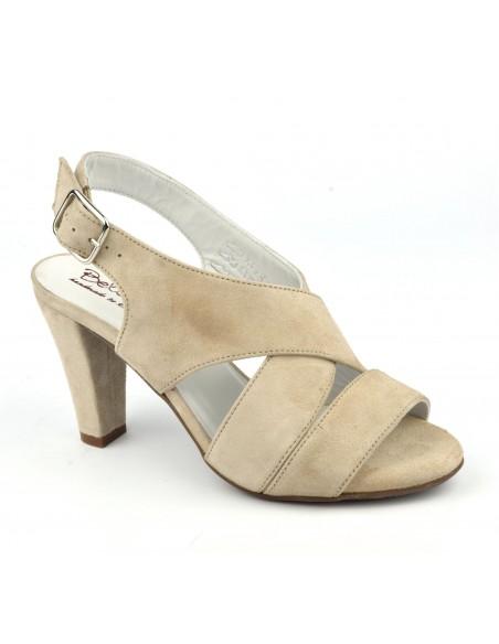 Sandales confort, cuir daim beige, Valkyrie, Bella B, petite pointure 35