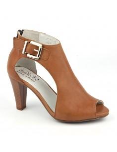 Sandales montantes cuir lisse camel, Vanker, Bella B, petite pointure 33