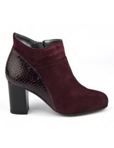Boots chics, cuir suedine, bordeaux, Blet, Bella B, femme petites pointures