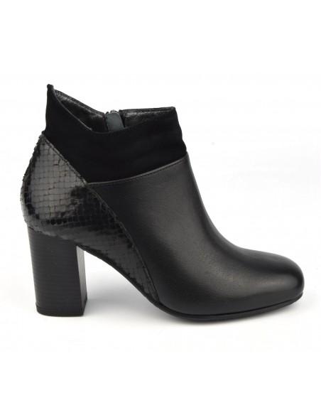 Boots chics, cuir lisse, noir, Blet, Bella B, chaussure femme petite pointure