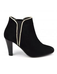 Boots cheville enfilage élastique, cuir nubuck, noir, Vallas, Bella B, femme petites tailles
