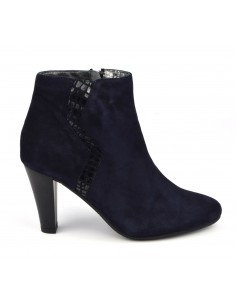 Bottines habillées, cuir suedine, bleu marine, Valdir, Bella B chaussure femme petits pieds, 33, 34, 35