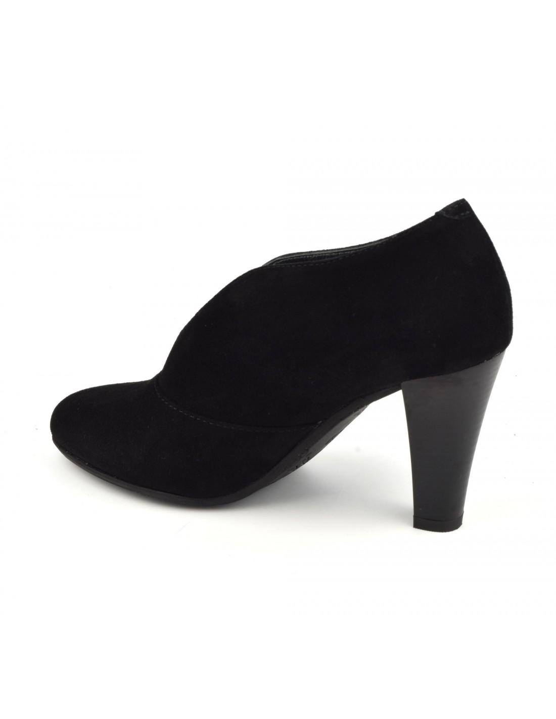moitié prix meilleur service acheter pas cher Low boots échancrées, cuir suédine, noir, Valto, Bella B