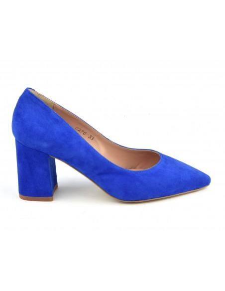 Escarpins, bouts pointus, cuir daim, bleu électrique, XA0270, Xaira, petits pieds, femme