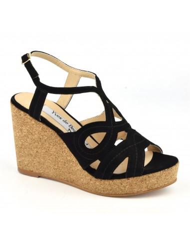 Sandales, talons compensés liège, cuir daim noir, MI-230, Yves de Beaumond, femme petite pointure