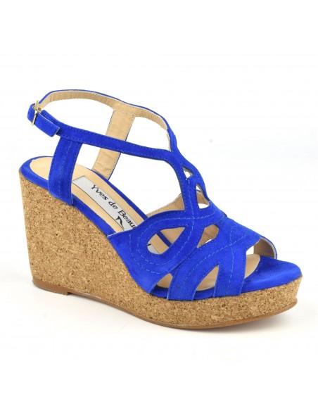 Sandales, talons compensés liège, cuir daim bleu électrique, MI-230, Yves de Beaumond, femme petite taille