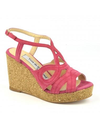 Sandales, talons compensés liège, cuir daim rose, MI-230, Yves de Beaumond, femme petite taille