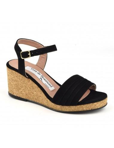 Sandales, talons compensés liège, cuir daim noir, MI-629, Yves de Beaumond, femme petite pointure