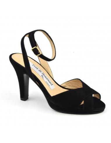 Sandales habillées, cuir daim noir, 7810, Yves de Beaumond, femme petites pointures