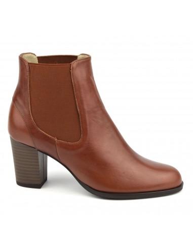 Bottines cuir lisse marron clair, FZ97587, Brenda Zaro, femme petits pieds
