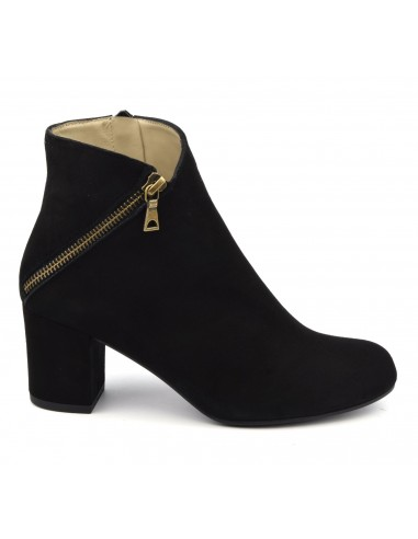 Bottines cuir daim noir, FV1799, Brenda Zaro, femme, petits pieds