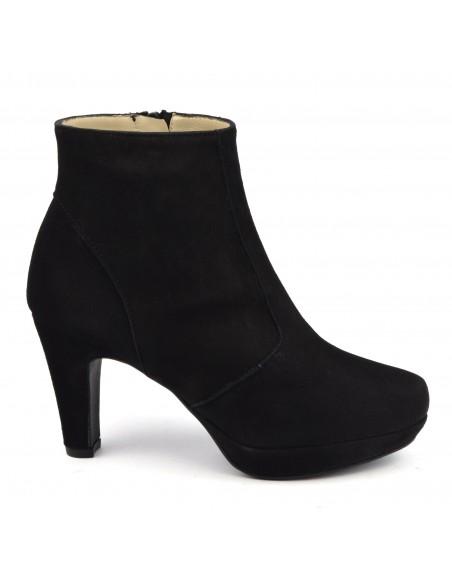 Bottines plateforme cuir daim noir, F97510, Brenda Zaro, femme petits pieds
