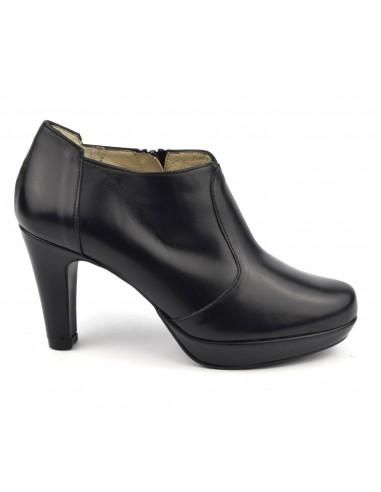 Low boots plateforme cuir lisse noir, F97509, Brenda Zaro, femme petites tailles