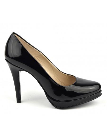 Escarpins, plateforme, cuir verni, noir, 9669, Maria Jamy, taons aiguilles, femme petite pointure
