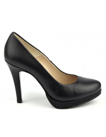Escarpins, plateforme, cuir lisse, noir, 9669, Maria Jamy, talons aiguilles, femme petites tailles