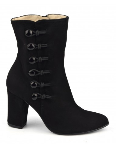 Bottines cuir daim noir, tige haute, MI-654, Maria Jamy, mi-mollet, jupe, noel, cadeau, petite pointure, noêl