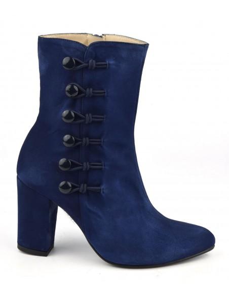 Bottines cuir daim bleu roi, tige haute, MI-654, Maria Jamy, femme petites pointures, cadeau, noel, jour de l'an, fêtes