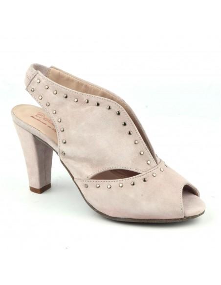 Sandales cloutées, cuir suédine, rose clair, Varib, Bella B, pointure 33, pointure 34