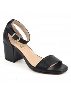 Sandales classiques, talons carrés, cuir lisse noir, 8359, Dansi, petites pointures