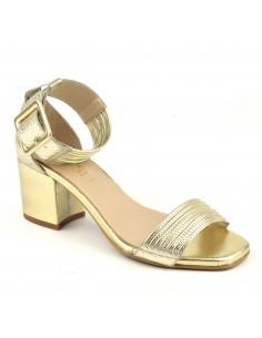 Sandales fashion, talons carrés, cuir craquelé or, 1404, Dansi, femme petite pointure