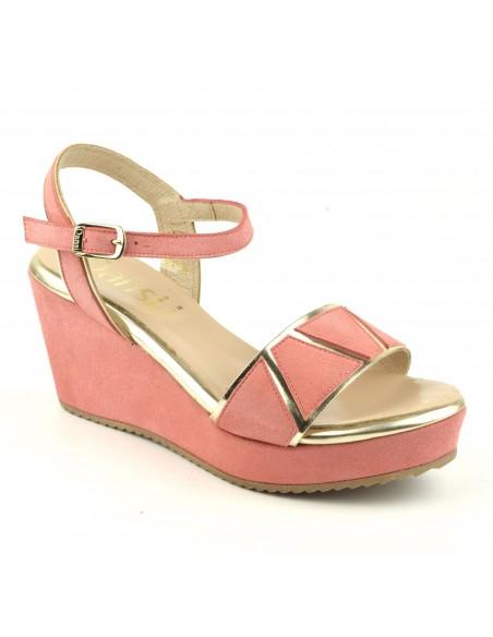 Sandalias elegantes, cuñas, piel de ante rosa salmón, 4725, Dansi, mujer talla pequeña