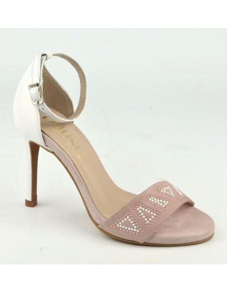 Sandales glamour, hauts talons fins, cuir daim rose poudré, 8483, Dansi, femme petite pointure