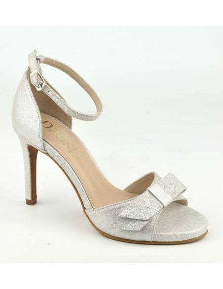 Sandales de soirée, hauts talons fins, cuir pailleté argent, 8478, Dansi, mariage petite pointure